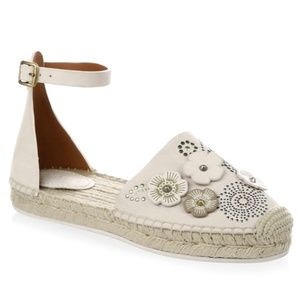 Coach Astor Ankle Strap Espadrille Flats in Chalk